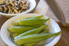 Okra and Mushrooms Royalty Free Stock Image