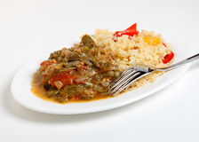Okra stew and cajun rice Stock Photo