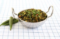 Okra Stir Fry or Lady`s Finger Curry in a Steel Wok. Healthy Indian vegetarian food okra stir fry or lady`s finger curry. This stir fry is commonly used as a stock images