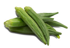 Okra in a white background Royalty Free Stock Images