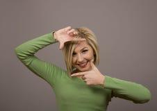 określanie blond twarzy Zdjęcia Royalty Free