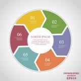 Okregów elementy dla infographic Biznesowy pojęcie z opcjami, częściami, krokami lub procesami 6, ilustracji