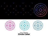Okregów kolorów ikony projekt z cztery kolorów mieszkania stylowym aert royalty ilustracja