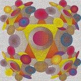 OKREGÓW mandala, trójboki W centrum, KÓŁKOWI mandala W 3D wizerunku, tekstury tła, koloru żółtego I pomarańcze, purpura, błękit,  royalty ilustracja