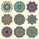 Okrąg koronki ornament, round ornamentacyjny geometryczny Fotografia Stock