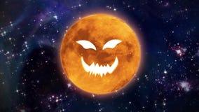 Okropna dyniowa twarzy Halloween księżyc royalty ilustracja