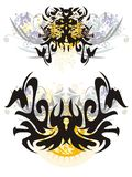 Okropny czarny pająk i motyl Fotografia Royalty Free