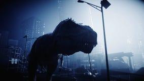 Okropny dinosaura trex w nocy niszczył miasto Apokalipsy pojęcie świadczenia 3 d ilustracji