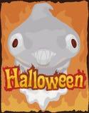 Okropny duch na ogieniu dla Halloweenowego świętowania, Wektorowa ilustracja ilustracja wektor