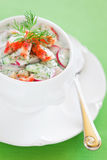 Okroshka. Cold crab soup with cucumber, radishes and kefir, selective focus Stock Photography
