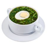 Okroshka. Traditional russian cold kvass soup with chopped vegetables and eggs Stock Photography