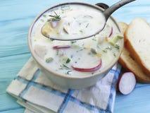 Okroshka  on blue wooden bread food summer. Okroshka on blue wooden spoon bread food cold summer Stock Photography