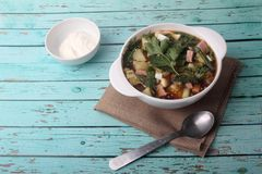 Free Okroshka - Cold Vegetable Soup - In A Bowl On Blue Wooden Background Royalty Free Stock Images - 151678009