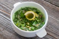 Okroshka cru de nourriture - une soupe de concombre, radis, avocat, poireau, p images libres de droits