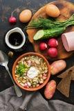 Okroshka em um fundo escuro, vista superior do alimento do russo Sopa fria do verão imagens de stock royalty free