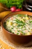 Okroshka Kalte Suppe des traditionellen russischen Sommers mit Wurst, Gemüse und Kwaß in der Schüssel auf hölzernem Hintergrund Lizenzfreie Stockbilder