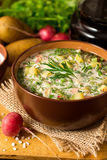 Okroshka Kalte Suppe des traditionellen russischen Sommers mit Wurst, Gemüse und Kwaß in der Schüssel auf hölzernem Hintergrund Lizenzfreie Stockfotos