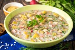 Okroshka Kalte Suppe des traditionellen russischen Sommers mit Wurst, Gemüse und Kwaß in der Schüssel auf hölzernem Hintergrund Stockfoto