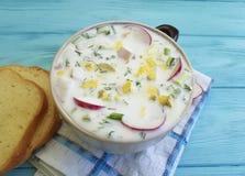 Okroshka healthy organic yoghurt on blue wooden bowl rustic hash food lunch dinner summer mix. Okroshka organic on blue wooden spoon food cold summer yoghurt Stock Photos