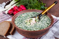 Okroshka - Russian cold soup with vegetables. With a wooden spoon Royalty Free Stock Photo