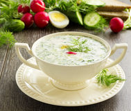 Okroshka - Russian kvass Cold Soup Stock Photo