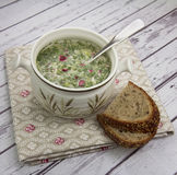 Okroshka - russian summer cold soup. Royalty Free Stock Images