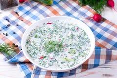 Okroshka Soep van de de zomer de lichte koude yoghurt met komkommer, radijs, eieren en dille op een lijst stock afbeelding