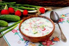 Okroshka sopa fría rusa tradicional fotos de archivo