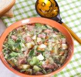 Okroshka su kvas e su un cucchiaio di legno Fotografia Stock