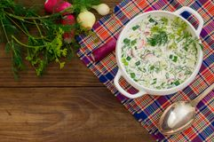 Okroshka. Summer light cold yogurt soup with cucumber, radish, eggs and dill on a wooden table. Wooden background. Close Royalty Free Stock Photos