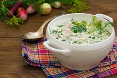 Okroshka. Summer light cold yogurt soup with cucumber, radish, eggs and dill on a wooden table. Wooden background. Close Stock Photos