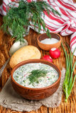 Okroshka. Summer light cold yogurt soup with cucumber, radish, eggs and dill Stock Photo