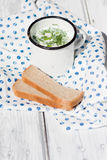 Okroshka. The traditional Russian summer soup and rye bread Stock Photo