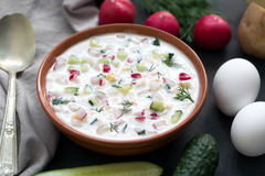 Free Okroshka. Traditional Russian Summer Yoghurt Cold Soup With Vegetables Stock Photo - 93027220