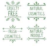 Okrucieństwo uwalnia, naturalni kosmetyki, naturalny produkt, świezi kosmetyki Zawijas winiety i ręcznie pisany listy wektor Zdjęcie Royalty Free