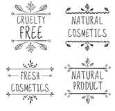 Okrucieństwo uwalnia, naturalni kosmetyki, naturalny produkt, świezi kosmetyki Zawijas winiety i ręcznie pisany listy wektor Zdjęcia Stock