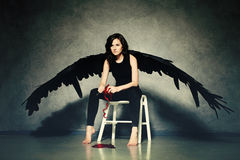 Okrutna miłość Kobieta Czarny anioł Struga serce Obrazy Royalty Free