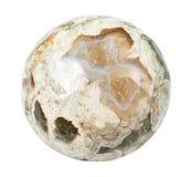 Okrzesany Madagascar Rhyolite kamień odizolowywający Zdjęcie Stock