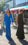 Oksana Fedorova in blue dress at Festival. MOSCOW, RUSSIA - June 21: Famous TV host, supermodel, former Miss World Oksana Fedorova in blue dress at XXXIV Moscow Royalty Free Stock Image