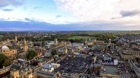Oksfordzki miasta i uniwersyteta Powietrzny Panoramiczny widok obraz stock