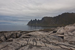 Okshornan, island Senja, Norway Royalty Free Stock Images