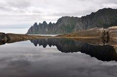 Okshornan, Senja, Norvège Image stock
