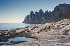 Okshornan, Stier-Hörner erstrecken sich in Senja, Norwegen Stockbild