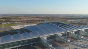 Aerial view to Platov airport in Russia stock video