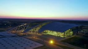 Aerial view to terminal of Platov airport stock video