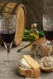 Oktawa, wineglass, chleb i ser, jesteśmy na grabić Zdjęcie Stock