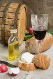 Oktawa, wineglass, chleb i ser, jesteśmy na grabić Obrazy Stock