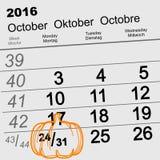 Oktober 31 2016 allhelgonaafton Datum av väggkalendern och pumpa royaltyfri illustrationer