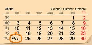 Oktober 31 2016 allhelgonaafton Datum av väggkalendern och pumpa stock illustrationer