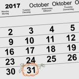 31 Oktober 2017 allhelgonaafton Lykta för pumpa för form för påminnelse för kalenderdatum Arkivbilder